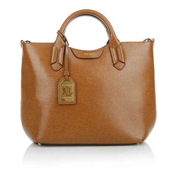 Lauren Ralph Handle Bags, Convert Tote Tan/Cocoa Handbag ($235) ❤ liked on Polyvore featuring bags, handbags, tote bags, brown, tan leather tote, leather tote, zippered tote, brown tote bag and leather zipper tote