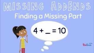 Missing Addend YouTube Video | First Grade | Second Grade | Addition | Subtraction | Unknown Addend | Missing Part