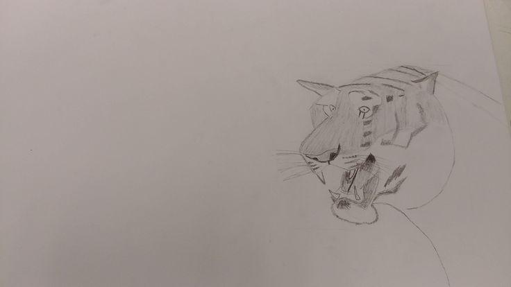 Dit is mijn tekening na de vijfde les ik heb hier ook de strepen aan de onderkant toegevoegd en heb de schaduw in de mond van de tijger getekend