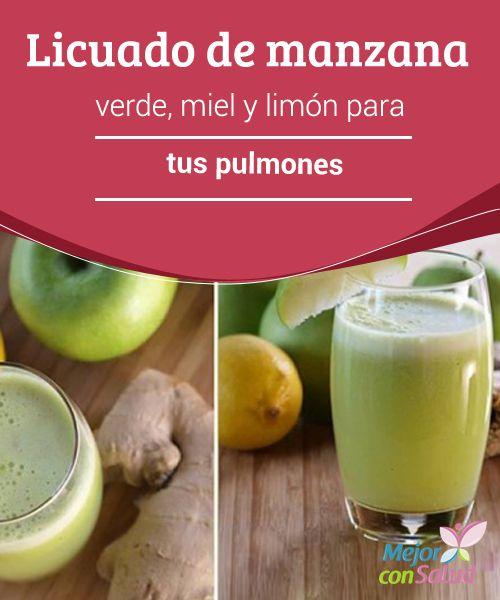 Licuado de manzana verde, miel y limón para tus pulmones   Con este estupendo licuado de manzana verde, miel y limón mejoraremos el funcionamiento de nuestros pulmones.¡Descubre cómo prepararlo!