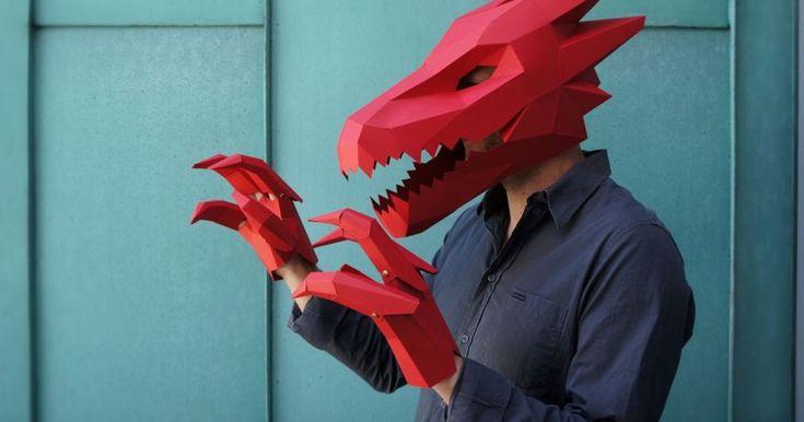DIY Geometric Paper Masks For Halloween   Bored Panda