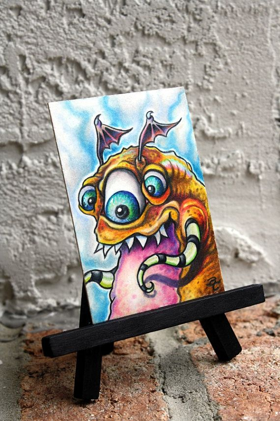 Micro Monster 014 original ACEO ATC art by Bryan by bryancollins, $45.00