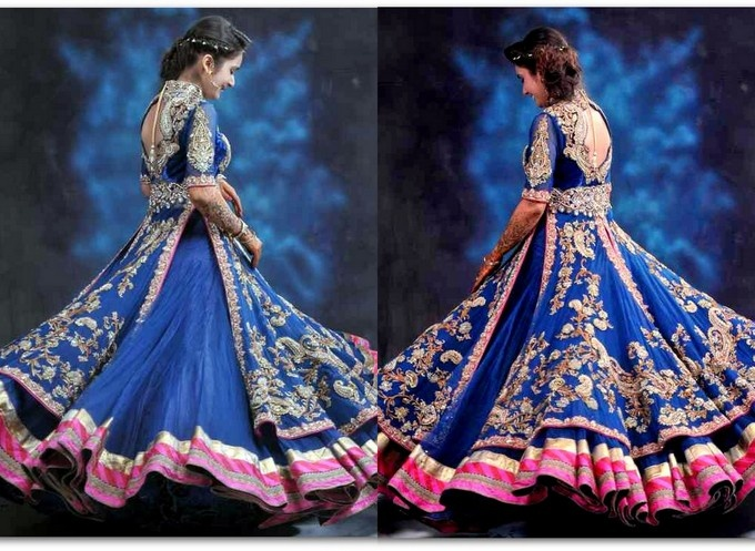 Anarkali lehenga Too bad it not yellow instead of pink along the bottom of the skirt