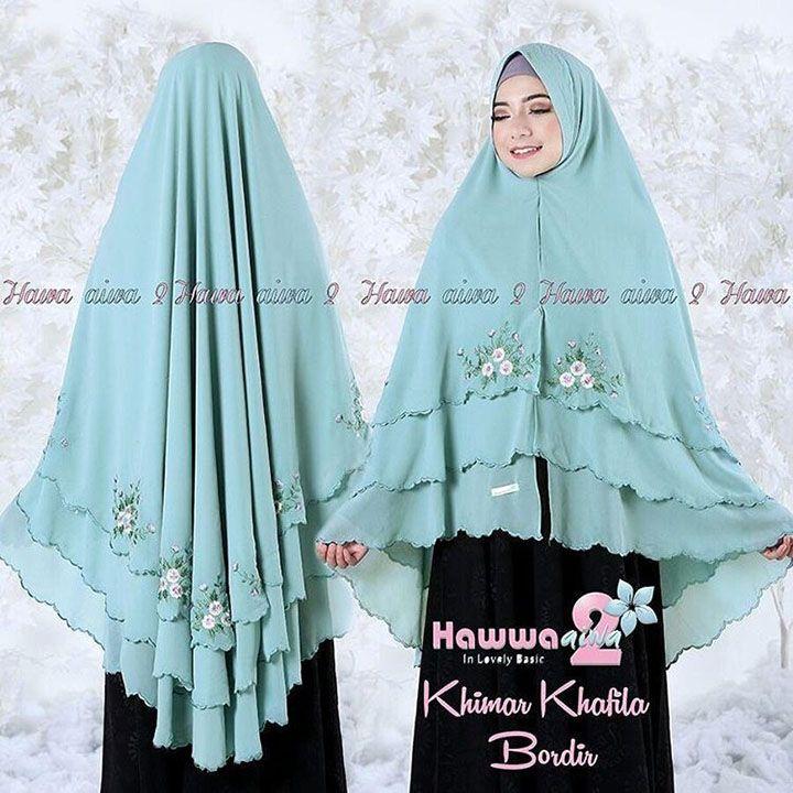 Khimar Khafila Bordir By Hawwa Aiwa 2 Bahan Ceruti Cantik Mode Abaya Model Pakaian Hijab Model Pakaian