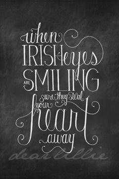 Dear Lillie — Irish Eyes 24x36 Chalkboard Download St. Patrick's Day
