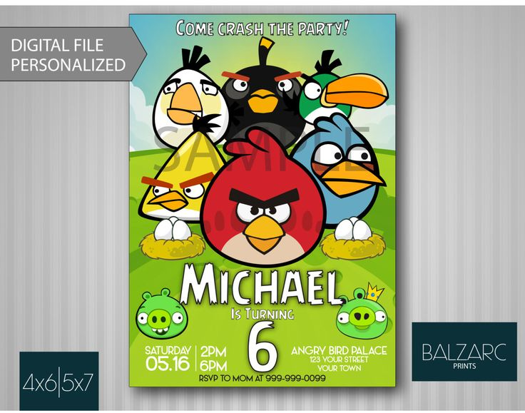 ANGRY BIRDS INVITATION, Angry Birds Birthday Invitation, Angry Birds Party, Angry Birds Invitation, Angry birds by BalzarcPrints on Etsy https://www.etsy.com/listing/237315856/angry-birds-invitation-angry-birds