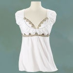 Embellished top. Available in sizes S-3X.