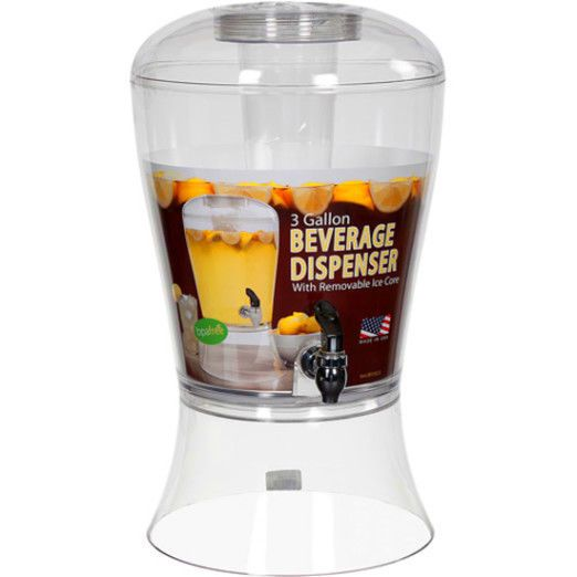 Creative Bath 3 Gallon Beverage Dispenser,Ice Core cans Gallon beer Party Party ltpgtThe Creative Bath 3-Gallon Beverage Dispenser with Ice Core is sensational for parties and gatherings. The ice core of the Creative Bath 3-Gallon Beverage Dispenser keeps beverages refreshingly cool without diluting them. The Creative Beverage dispenser, with the ice core, is for cold beverages only. The 3-gallon dispenser has a clean, stylish design that would fit most settings and can be used both indoors…