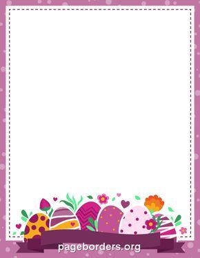 Printable purple Easter border. Use the border in Microsoft Word or other programs for creating flyers, invitations, and other printables. Free GIF, JPG, PDF, and PNG downloads at http://pageborders.org/download/purple-easter-border/