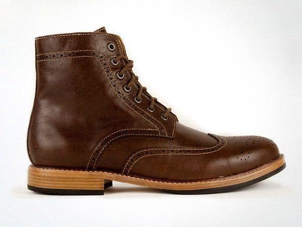 Holden Full Brogue Boots in Dark Brown