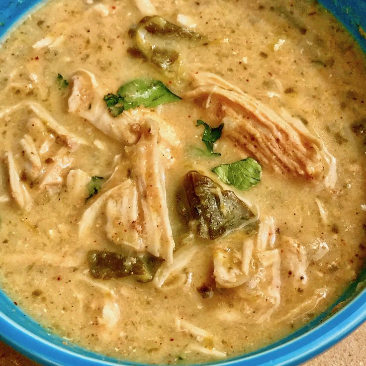 Pressure Cooker Low Carb Poblano Chicken Soup, Instant Pot Low Carb chicken poblano soup makes a creamy, hearty meal that cooks in under 30 minutes. The poblano peppers really make this a standout dish!  Two Sleevers
