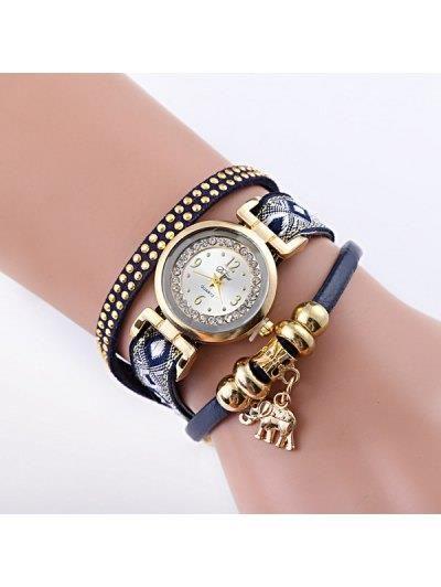 Imitación de cuero del elefante del Rhinestone reloj pulsera