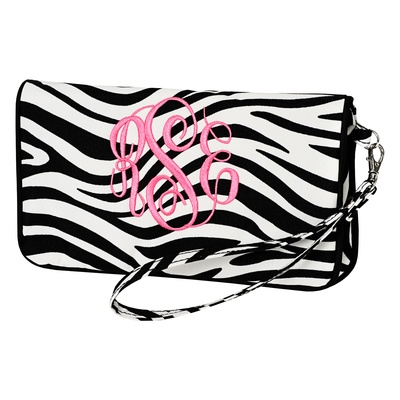 """Monogrammed Wristlet--this looks to be big enough for an epi pen and other essentials 9 x 5"""": Prints Wristlets, Clutches Wallets, Wristlets Clutches, Bridesmaid Gifts, Zebras Prints, Animal Prints, Wristlets Wallets, Clutches Monograms, Wristlets Bags"""