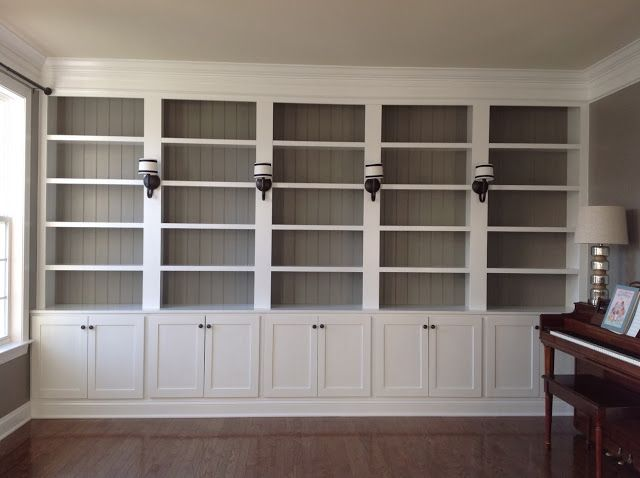 Library Reveal The wall color is Dovetail by Shermin Williams and the white is white trim paint (we just matched the paint with the trim).