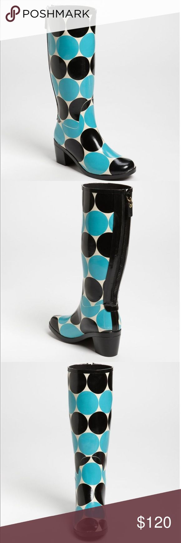 """NEW KATE SPADE NEW YORK DESIGNER RAIN BOOTS 9 BRAND NEW!!! KATE SPADE RARE POLKA DOT RAIN BOOTS Description: Mid heel boot  Rubber upper with zip gusset at back Pull on style Fabric lining and rubber sole Measurements: Heel height 2½"""", shaft height 13½"""", calf   Material: Rubber  Brand: kate spade new york shoes  Origin: Imported kate spade Shoes Winter & Rain Boots"""