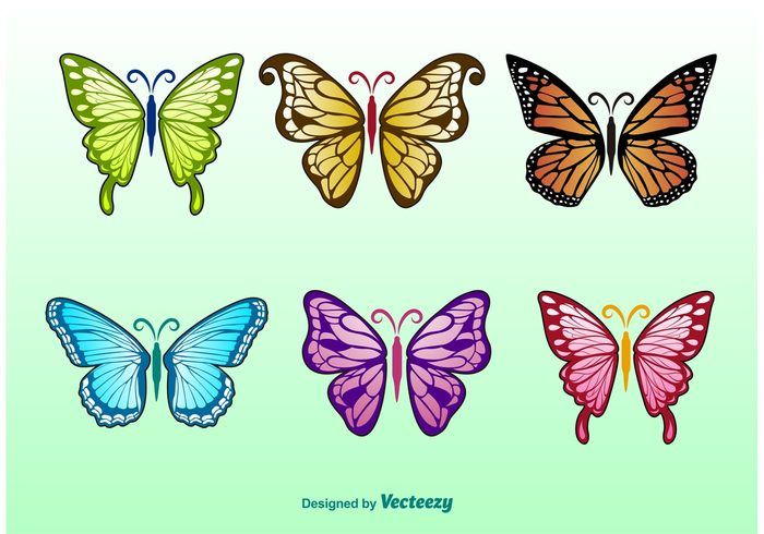 Free vector Spring Butterflies Illustrations #18100