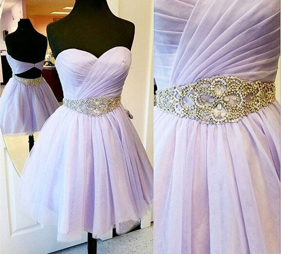 Lavender Prom Dresses,Tulle Prom Gowns,Backless Prom Dresses,Short Party Dresses