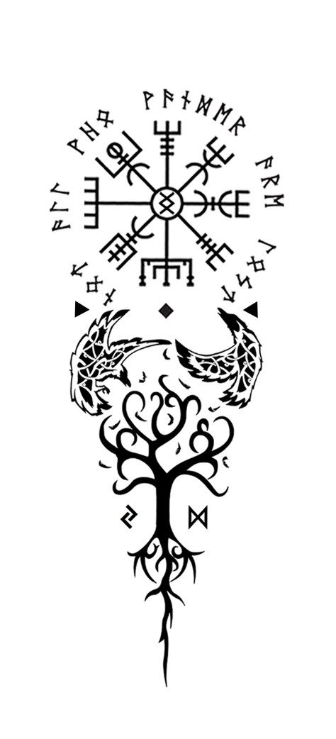 "Vegvisir with the surrounding runes: ""not all who wander are lost."" At the center of vegvisir ungiz: ""where there is a will there is a way."" Huginn and muginn underneath vegvisir for ""thought"" and ""memory."" There under Yggdrasil the tree of balance with the two runes of time, change and decision: jera and dagaz. Meaning of this tattoo to me: every step I take towards balance is with a certain thought and memory, together with making the right decisions. All guided by vegvisir and ungiz."