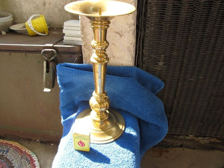 Vintage Large Candles holders candlestick bronze brass H - 295 mm