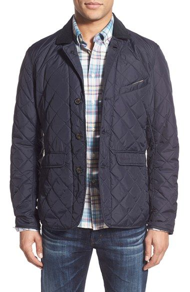 Barbour 'Beauly' Tailored Fit Quilted Jacket with Corduroy Collar available at #Nordstrom