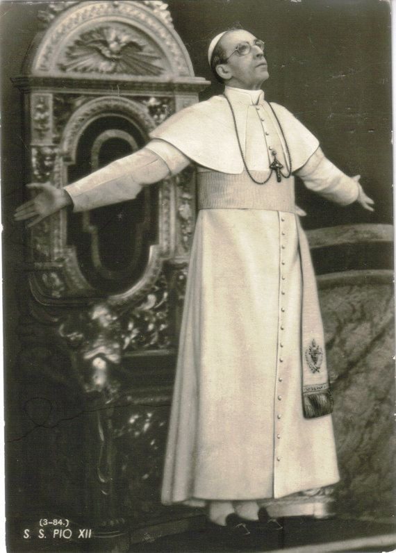 Vintage Pope Pius XII S.S. Pio XII Post Card I remember when as a child every time I saw him in a picture I would become very sad because he looked so sad.