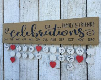 Family and Friends Celebrations board - birthday calendar, family birthday board, wall family calendar,  distressed sign