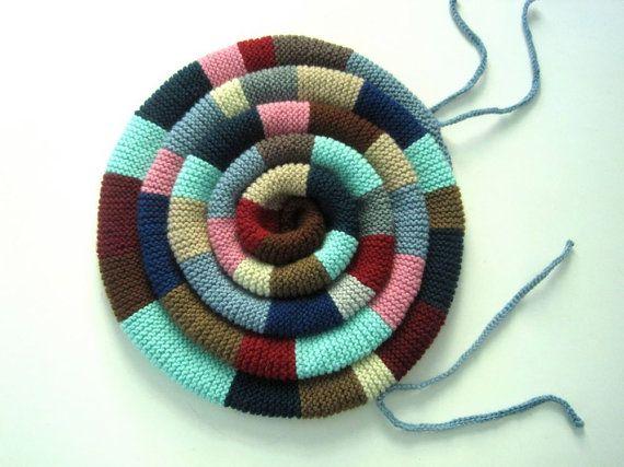 Handmade Rocking Chair Pad - Round Chair Cushion Hand Knit Seat Rug MEDIUM