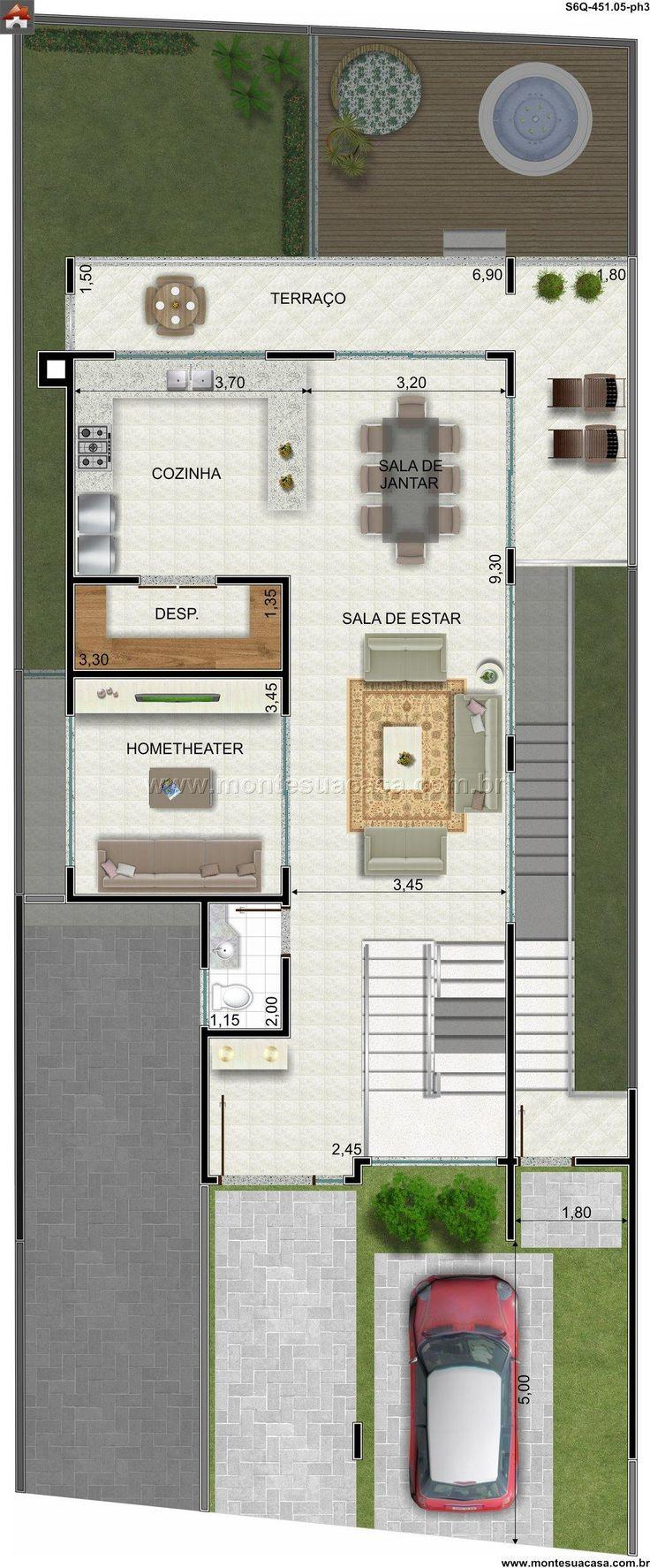 Pinterest: @claudiagabg | Casa 4 pisos 3 cuartos 1 sala de tv 1 estudio despensa jacuzzi y Apartamento en alquiler 3 cuartos despensa / planta 3