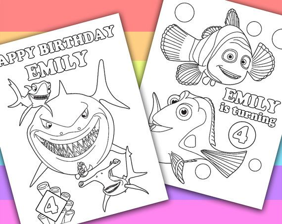 Finding Nemo  2 Personalized Coloring Pages  by PetiteMonkey