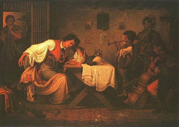 Munkácsy Mihály (1844-1900) - Búsuló betyár  Korai festménye