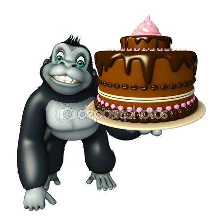 Lindo personaje de dibujos animados de gorila con torta — Imagen de stock…
