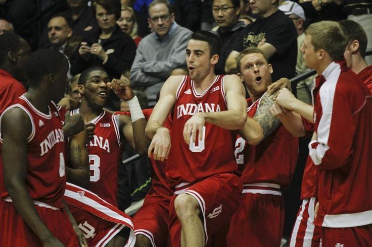 The IU Basketball team dances and laughs before the second half of the basketball game against rival Purdue on Wednesday at Mackey Arena. IU won 97-60. Indiana Daily Student