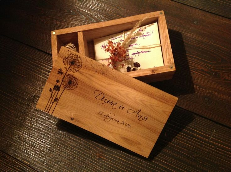 деревянная шкатулка для свадебных фотографий. материал дуб.