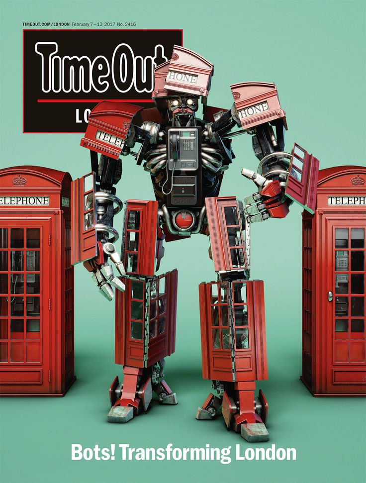 #cgi #advertising #design #CGImodelling #texturing #character #retouching #drink #ad #timeout #cover #magazine #publication #robot