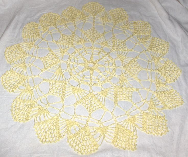 New crochet doily, crochet centerpiece, crochet table cloth, yellow doily by Hildescrochetshop on Etsy