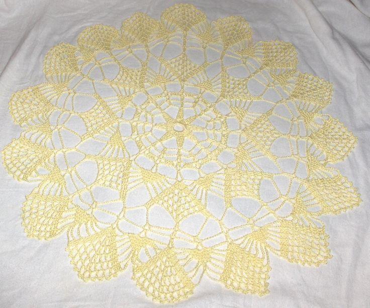 New crochet doily, crochet centerpiece, crochet table cloth, yellow doily by Hildescrochetshop on Etsy