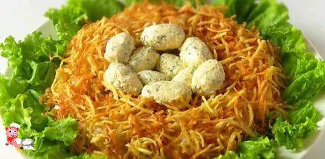 Салат гнездо глухаря с грибами и курицей. Удивительный салат, попробуйте приготовить, очень красиво, а вкус великолепный! Блюдо готовится очень даже просто.