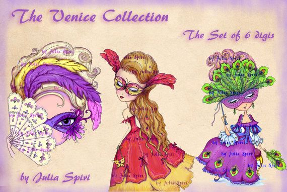 The Set of 6 digis. Digital Stamps, Digi stamp, Coloring pages, Venice, Girl stamp, Venice stamp, Mask stamp Gondola. The Venice Collection.