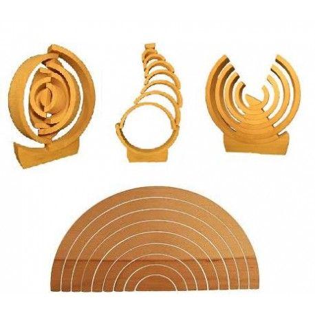 Arc en ciel en hêtre, jeu de Misha, 12 pieces en bois pour encastrement et construction,  jouet ecologique et français , waldorf steiner et montessori , arbre de vie