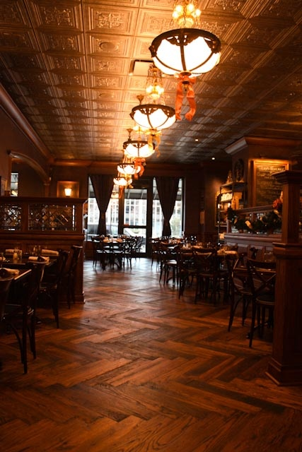 Gastro Pub interior. Lovely Reclaimed Chevron block WoodenFlooring