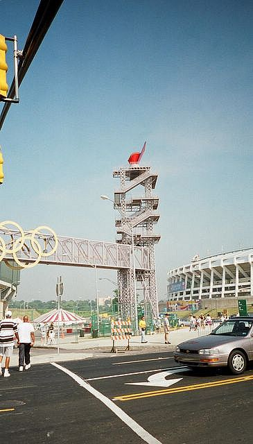 Atlanta 1996 Olympic cauldron. Atlanta Fulton County stadium in the background is no longer there, but the scaffolding and cauldron remain.