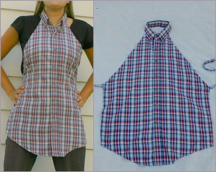 Shirt turned apron--a great way to reuse some of the hubster's old button-ups!