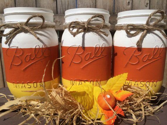 Set of 3 HandPainted Candy Corn Mason Jars by MidnightOwlCandleCo