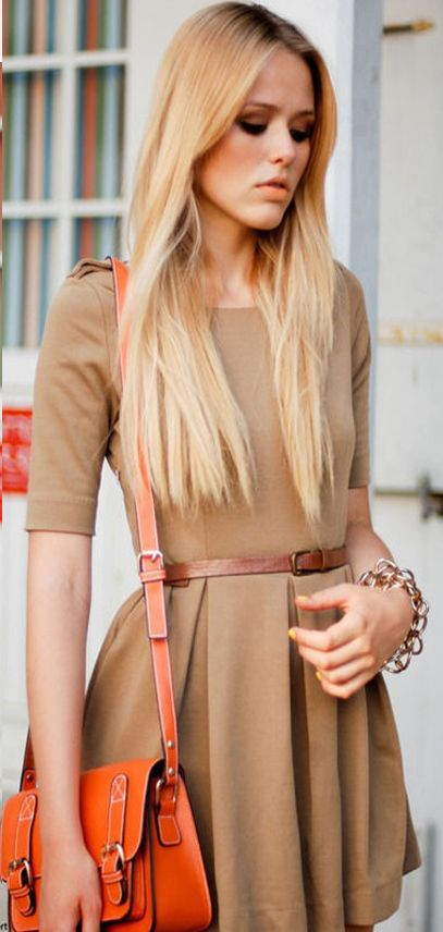 Camel color mini dress for summer