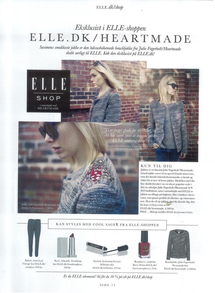 Danish magazine ELLE  writing about the collaboration Julie Fagerholt / Heartmade x ELLE jacket