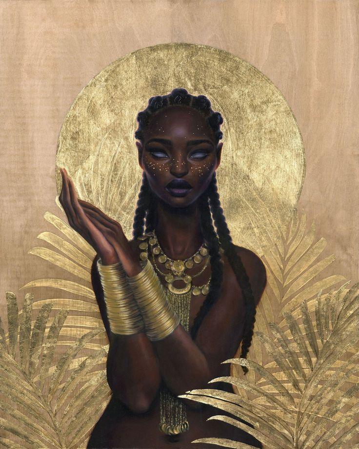 "Artist:Sara K. Golish ""Cosmic Stardust"" Oil & Gold Leaf on Wood"