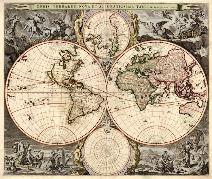 35 best antique world maps images on pinterest antique maps old 1690 old world antique map print gumiabroncs Image collections