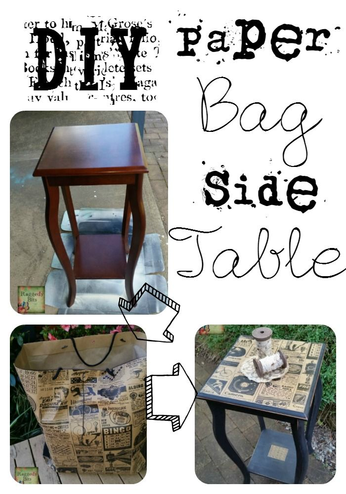 A full tutorial on how I used an old typo bag left over from my wedding and transformed this side table   www.raggedy-bits.com