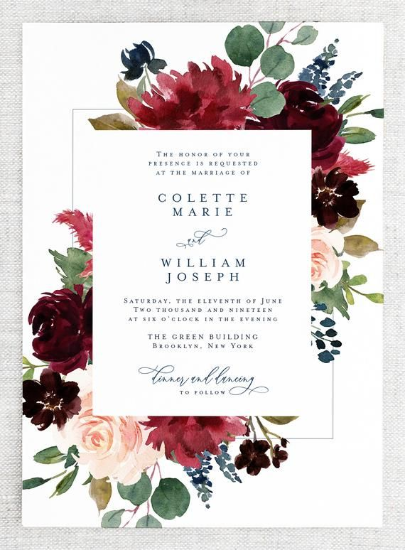 graphic about Etsy Printable Invitations named Tumble Marriage ceremony Invites Printable - Floral Wedding day