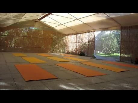 Our Yoga Room covered for the warm summer weather but still stunning! We are ready to start!